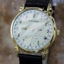 Movado Rare 14k Gold Triple Calendar Manual 1950s 34mm Swiss...