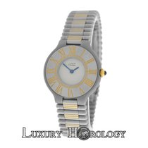 Cartier Ladies Must de 21 Quartz 18K Gold Steel Bullet Bracelet