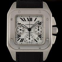 Cartier Stainless Steel White Dial Large Santos 100 Chrono...