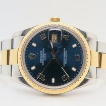 Rolex Date Blue Dial 18k Gold Steel