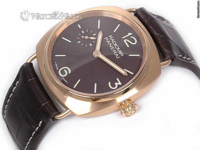 Panerai PAM 336 M - 42mm 18k Rose Gold Radiomir - Chocolate Brown Sandwich Dial - New In-House Manufattura Movement - Brand New in Box