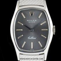 Rolex 18k White Gold Silver Baton Dial Cellini Ladies 3803