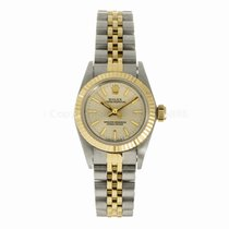 Rolex Ladies Oyster Perpetual 24MM Two Tone Silver Dial Watch...