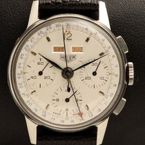 Heuer Chronograph Triple Date in Steel, made in the 1950's