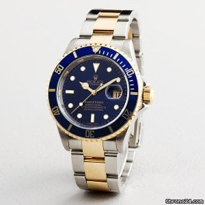 Rolex Submariner Date 2tone 18k Gold/stainless Steel Watch Blue 16613 Tb No Holes