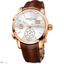 Ulysse Nardin Dual Time Manufacture Rose Gold 18K Silver Dial...