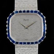 Piaget 18k W/G Octagonal Case Baguette Sapphire Bezel NOS 97810A6