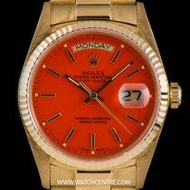 Rolex 18k Y/G O/P Orange Enamel Stella Dial Vintage Day-Date...