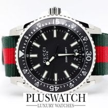 Gucci Dive Black Dial Red and Green Nylon 136206 45mm NEW T
