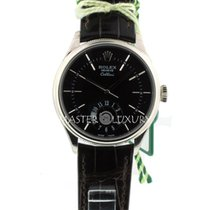 Rolex 50529 Cellini Dual Time White Gold Black Dial