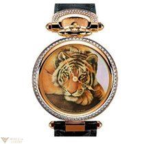 Bovet Diamonds 18K Rose Gold Tiger Leather Ladies Watch