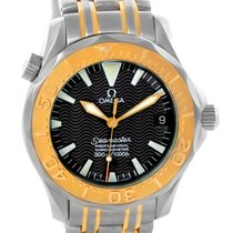 Omega Seamaster Midsize Steel 18k Yellow Gold Black Dial Watch