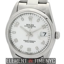 Rolex Oyster Perpetual 34mm Date Steel White Arabic Dial U Serial