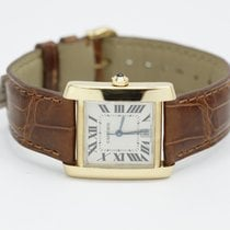 Cartier 18k Yellow Gold Tank Francaise On Gold Alligator Strap