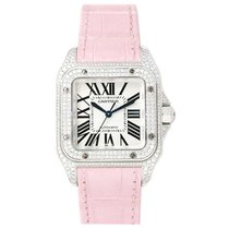 Cartier WM501751 Santos 100 White Gold - on Pink Leather Strap...