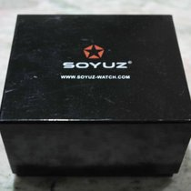 soyuz vintage watch wooden  box and warranty papers newoldstock