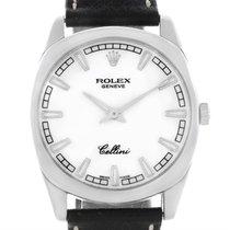 Rolex Cellini Danaos 18k White Gold White Baton Dial Mens...
