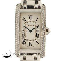 Cartier Tank Americaine 2489 Custom Diamond Bezel 18k White...