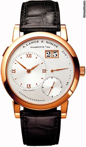 A. Lange & Söhne A  Lange 1 Silver Dial 18kt Rose Gold Black Leather Mechanical Mens Watch 101032