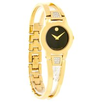 Movado Amorosa Diamond Ladies Gold Tone Bangle Quartz Watch...