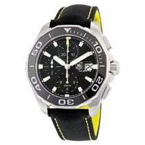 TAG Heuer Aquaracer Chronograph Black Textile Mens Watch...