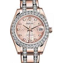 Rolex Pearlmaster 34 81285 Pink Jubilee Diamond Markers &...