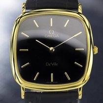 Omega Deville Gold-plated Quartz Dress Watch 1980s Black Dial...