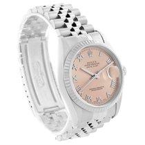 Rolex Datejust Steel 18k White Gold Salmon Roman Dial Watch 16234