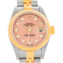 Rolex Datejust Ladies Steel 18k Yellow Gold Pink Coral Watch...