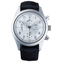 IWC IW3706 Flieger Chronograph in Steel - On Black Leather...