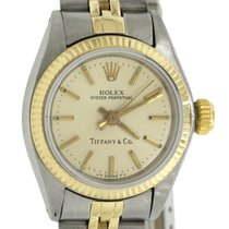 Rolex Tiffany & Co. Ladies Oyster Perpetual Steel &...