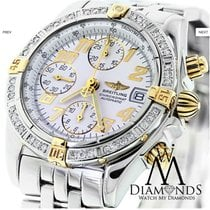Breitling B13356 Chronomat Evolution 18k Gold/ss Watch White...
