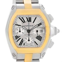 Cartier Roadster Chronograph Mens Steel Yellow Gold Watch...