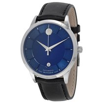 Movado 1881 Automatic Blue Dial Black Leather Band Mens Watch...