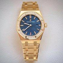 Audemars Piguet Royal Oak Yellow Gold Diamonds 33mm Blue Dial...