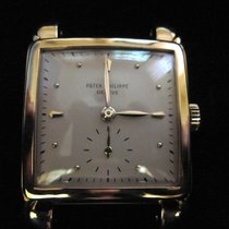 Patek Philippe Yellow Gold Square Wrist Watch with flame lugs
