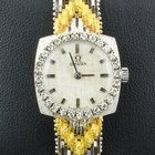 Omega Vintage Ladies Diamond 18K Tri-Color Solid Gold Watch