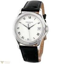 Patek Philippe Calatrava 18K White Gold Leather Men`s Watch