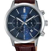 Pulsar Mens Chronograph - Stainless - Brown Leather Strap -...