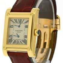 Cartier 18k Yellow Gold Tank a Vis, Two-Time Zone, Ref: W1534251