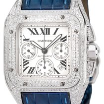 Cartier Santos 100 XL Chronograph Diamond Set Watch Blue...