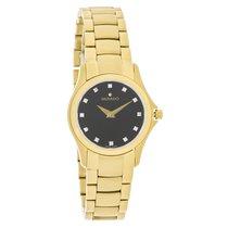 Movado Ladies Masino Gold Tone Diamond Black Dial Quartz Watch...