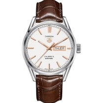 TAG Heuer Carrera Cal. 5 Day-Date 41mm  Silver Opalin Dial,Bro...