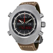 Omega Spacemaster Z-33 Black Analog-Digital Dial Brown Leather...