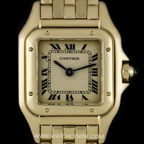 Cartier 18k Yellow Gold Silver Roman Dial Panthere Ladies Watch