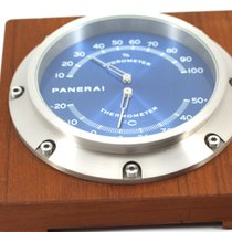 Panerai Table Clock PAM256 Steel Blue Dial wood hygro-thermometer