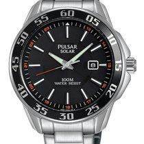 Pulsar Mens Solar 100m Sport Watch - Black Dial - Date -...