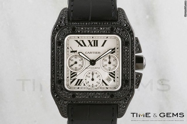 Cartier Black Coated DLC/PVD Pave Diamond Santos 100 Extra Large