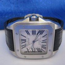 Cartier Santos 100 XL in Stahl mit Cartier-Lederband und...