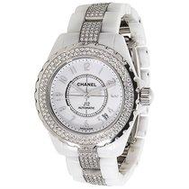 Chanel J 12 H1422 Unisex Diamond Watch in White Ceramic
